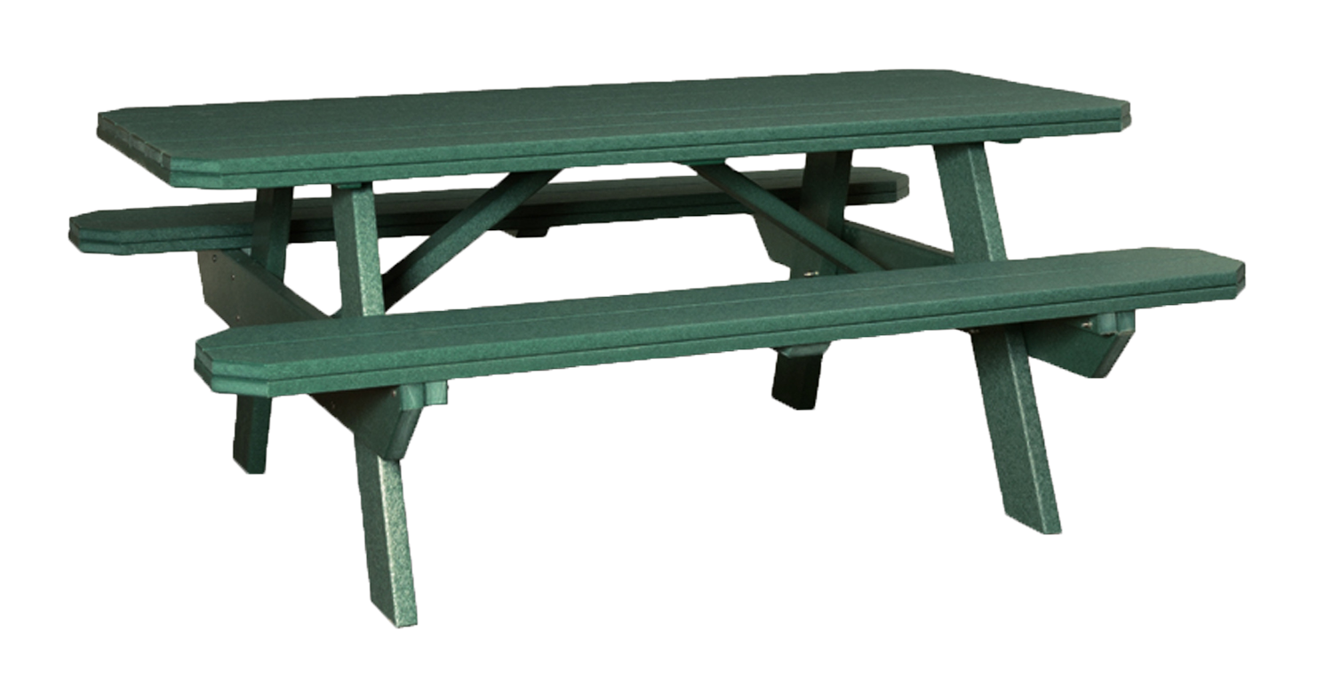 3'x6' Traditional Picnic Table with attached Benches