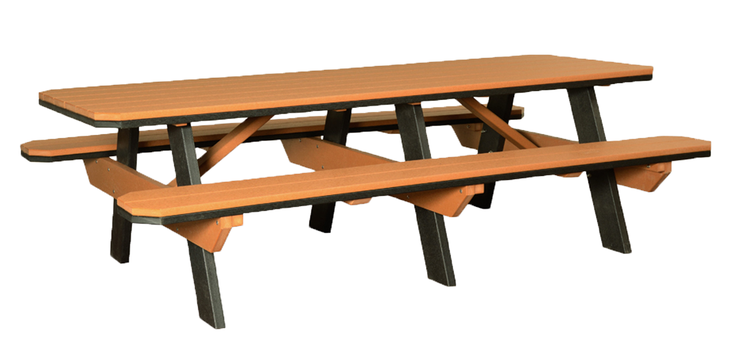 3'x8' Poly Traditional Picnic Table with attached Benches