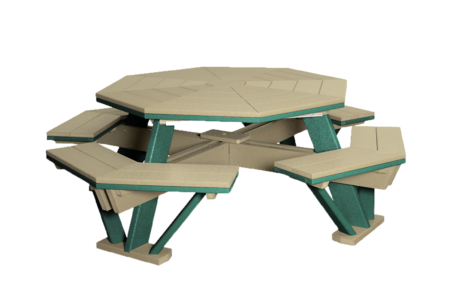 Poly 5' Octagonal Picnic Table with 8 attached Seats