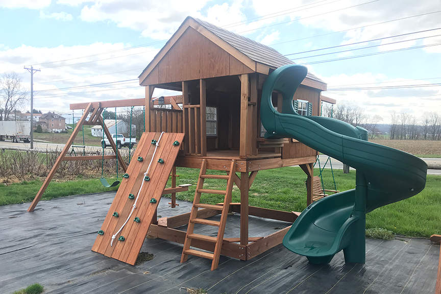 outdoor play systems country cabin amish built playset