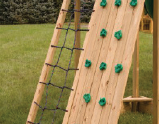 cargo net rockwall pressure treated wood