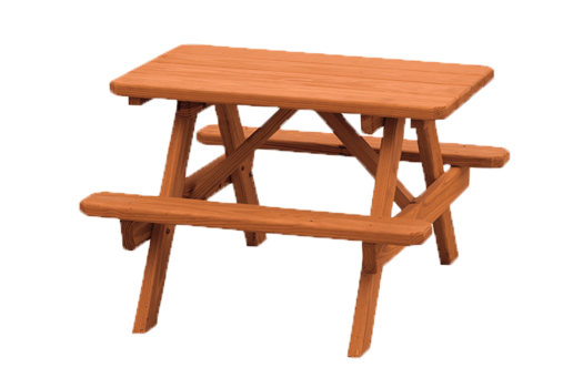 back yard wooden picnic table