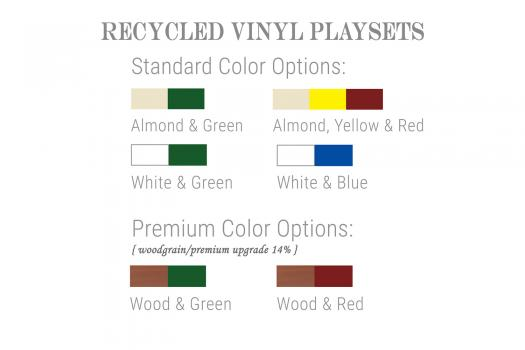 recycled vinyl playset color options playground - 50 year limited warranty on structure, 5 years on slides, swings, and roofs