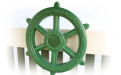 green ship's wheel