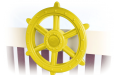 yellow ship's wheel