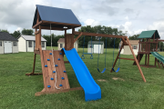 wooden playset climber rockwall amish made lancaster county