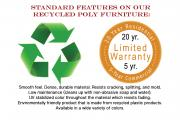 standard features on poly furniture 20 year residential warranty 5 year commercial warranty