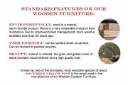 wooden furniture standard features