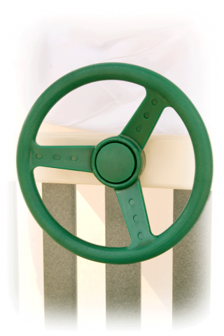 green steering wheel